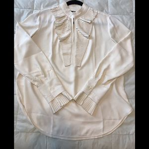 Ann Taylor cream ruffled blouse